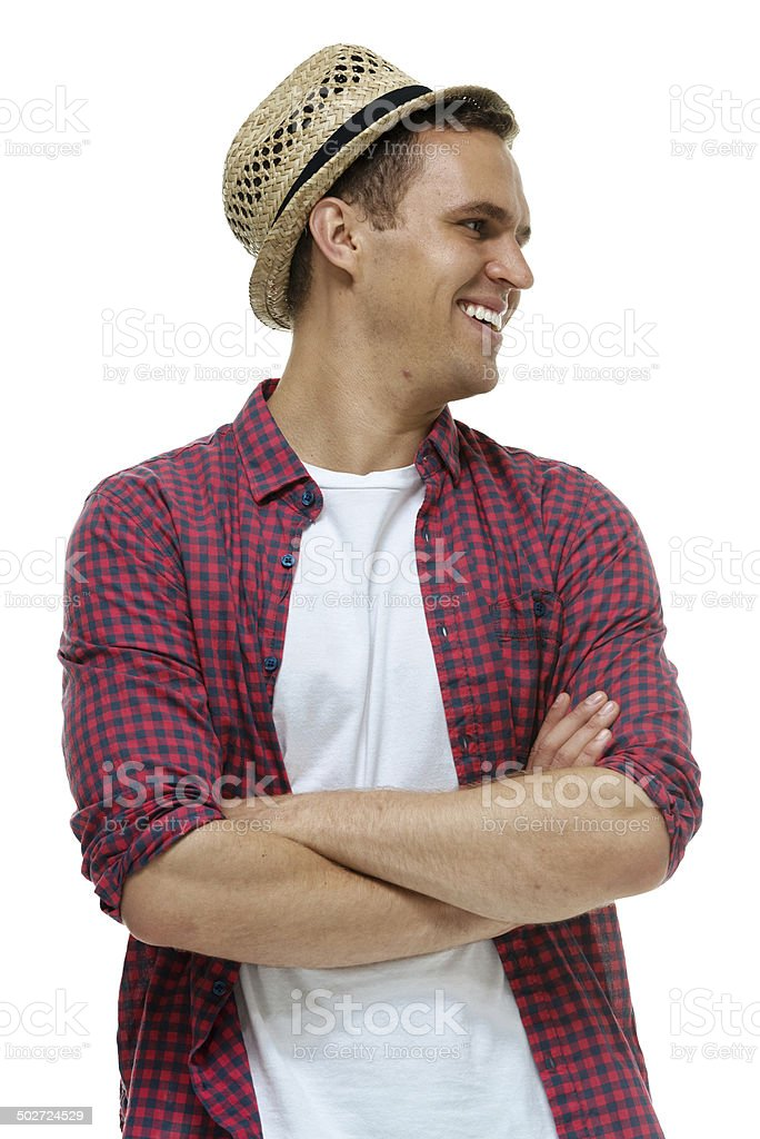 Cheerful man standing & looking away royalty-free stock photo