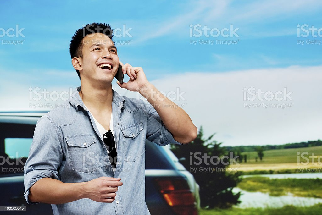 Cheerful man talking on mobile phone royalty-free stock photo