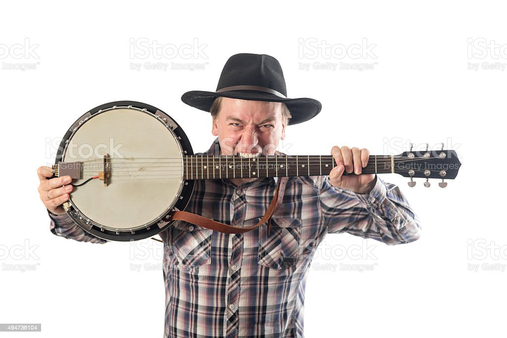 cheerful man with a banjo stock photo