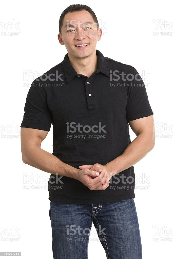 Cheerful Man With Hands Clasped stock photo