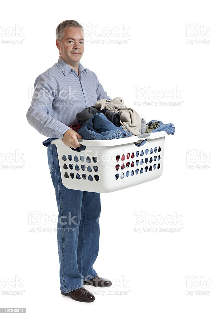 Cheerful Man With Laundry royalty-free stock photo