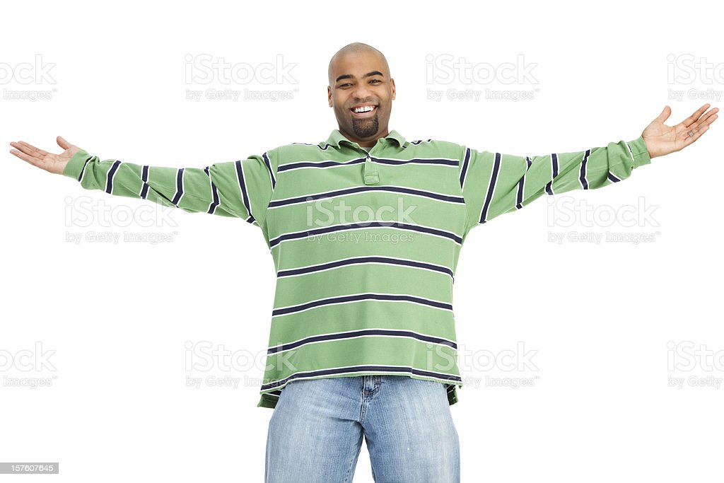 Cheerful Man with Open Arms royalty-free stock photo