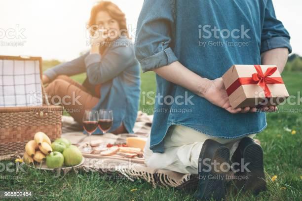 Vrolijke Echtpaar Hebben Picnic Op Vakantie Buiten Stockfoto en meer beelden van Alleen volwassenen