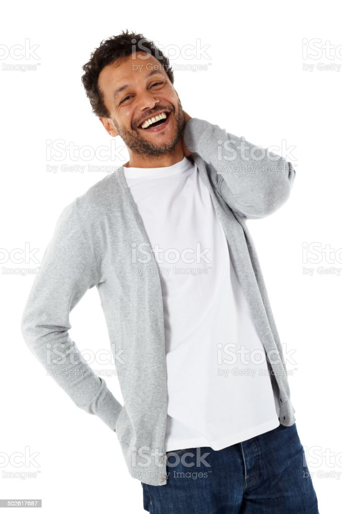 Cheerful mature african man standing on white stock photo