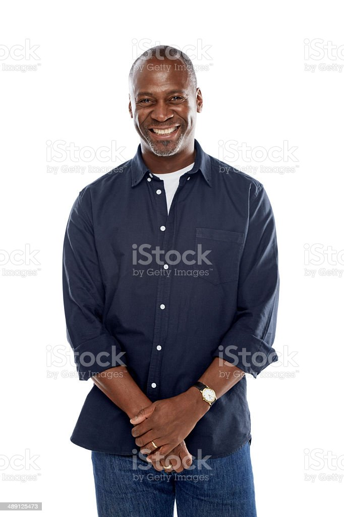Cheerful mature afro american man standing relaxed on white stock photo