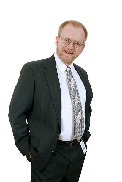Cheerful Mature Businessman in Suit and Tie stok fotoğrafı