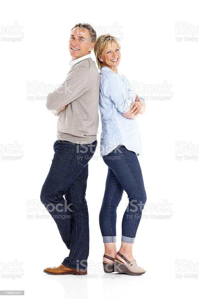 Cheerful mature couple on white stock photo