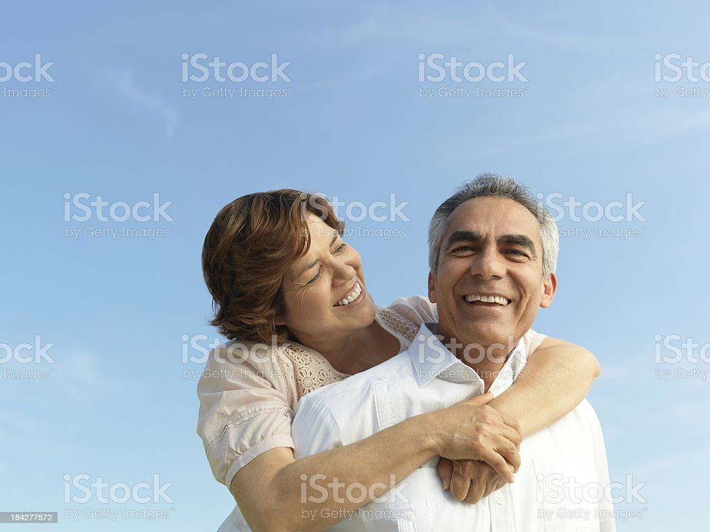 Cheerful mature couple stock photo