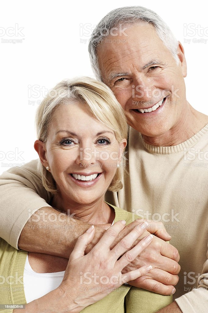 Cheerful mature couple smiling royalty-free stock photo