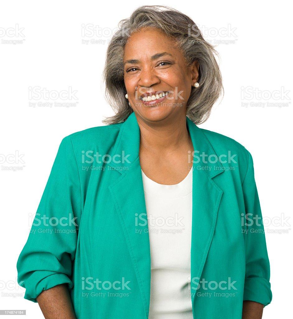 Cheerful Mature Woman Smiling Portrait stock photo