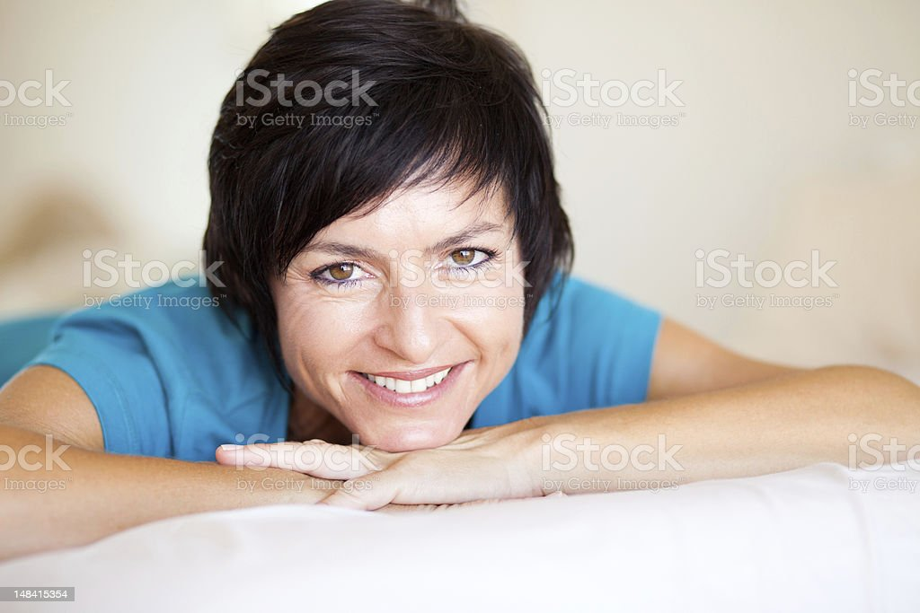 cheerful middle aged woman royalty-free stock photo