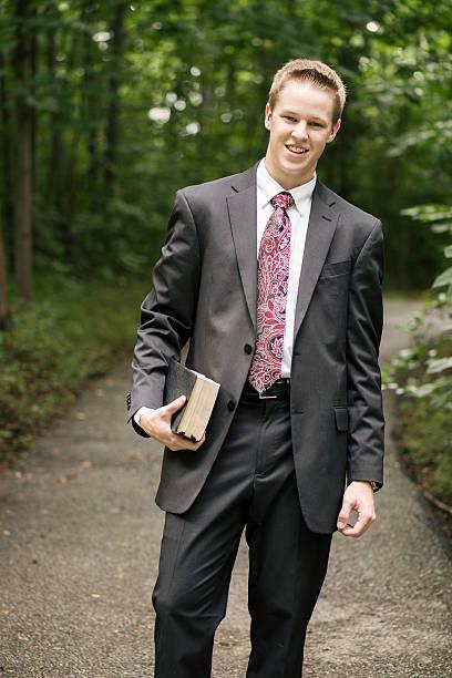 Cheerful Missionary stock photo