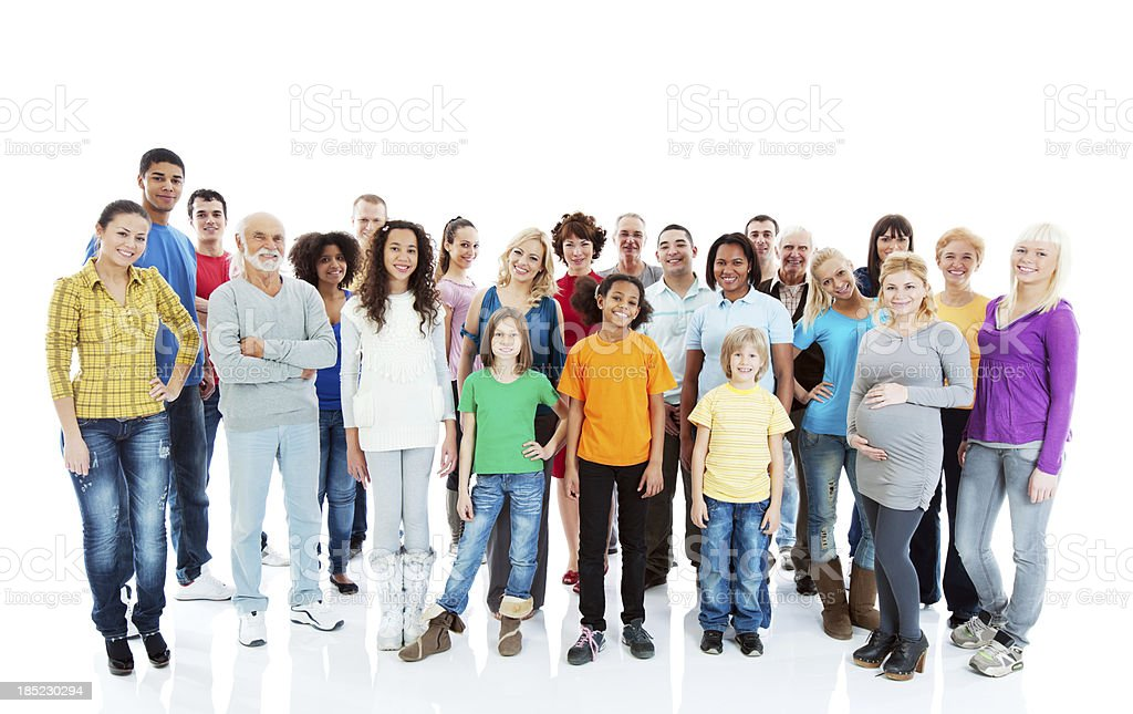 Cheerful mixed age group of people standing. stock photo