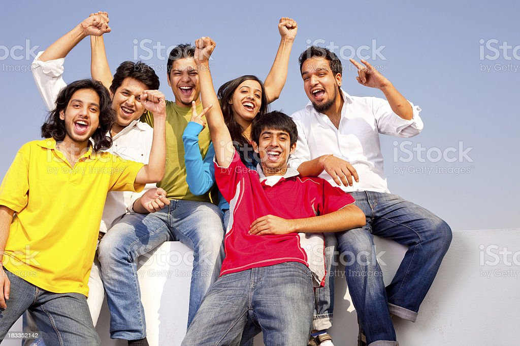 Cheerful Mixed Group of Young Indian Adult Friends having Fun royalty-free stock photo