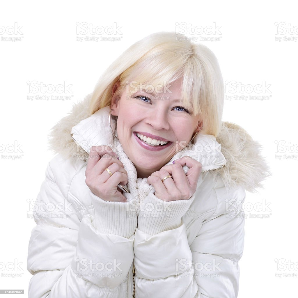 Cheerful model with a winter outfit royalty-free stock photo