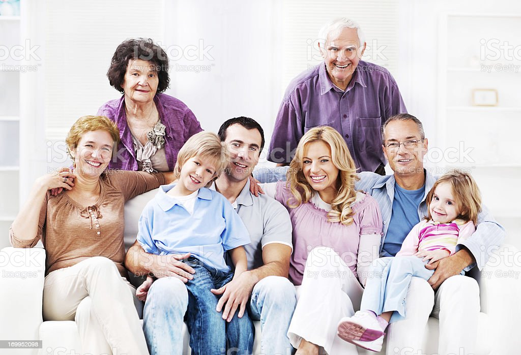 Cheerful Mufti Generation Family enjoying at home. royalty-free stock photo
