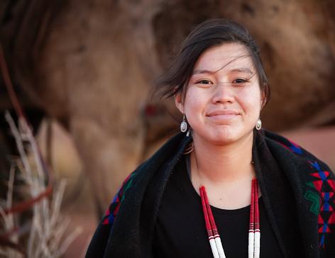 Cheerful Navajo woman portrait