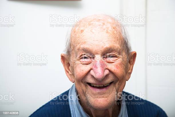 Cheerful Ninety Year Old Senior Man In His House Stock Photo - Download Image Now