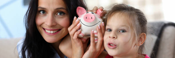 Cheerful parent with child stock photo