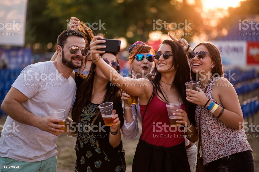 Cheerful People Making Selfie stock photo