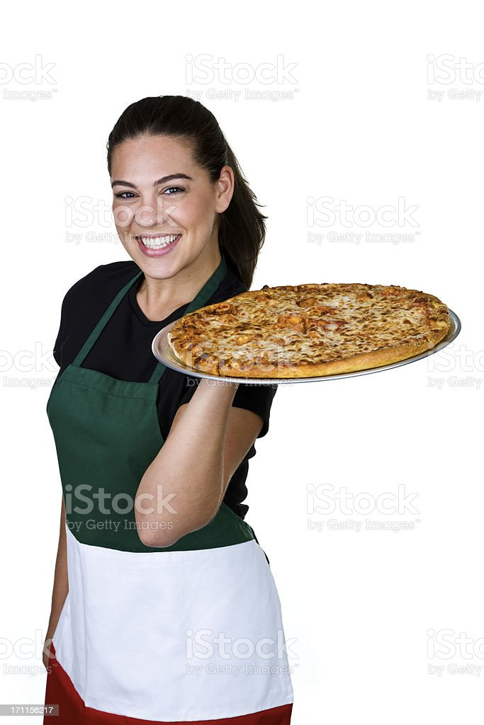 Cheerful pizzeria waitress royalty-free stock photo