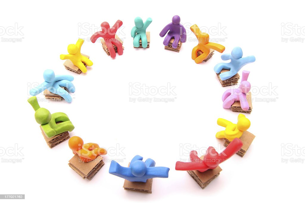 cheerful plasticine circle of chairs royalty-free stock photo