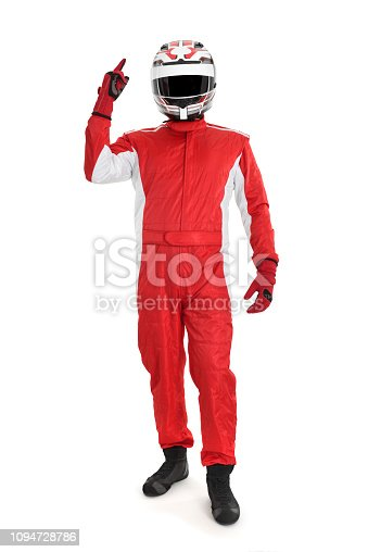Back view of a cheerful race car driver celebrating victory on a withe background