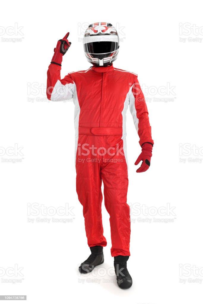 Cheerful race car driver stock photo