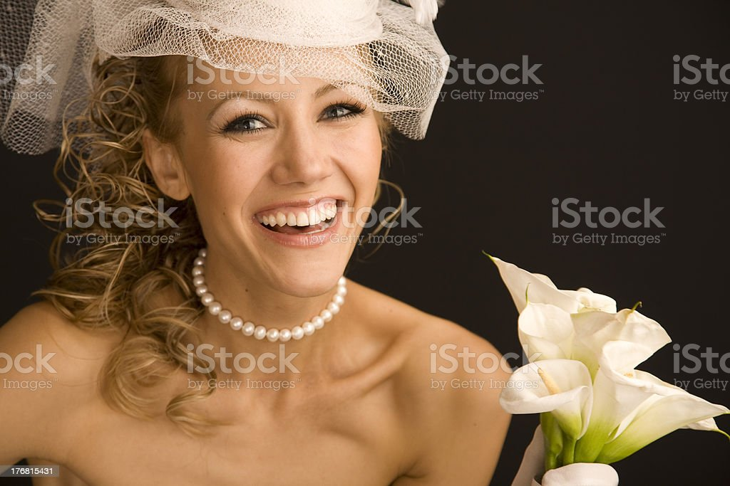 Cheerful retro bride royalty-free stock photo