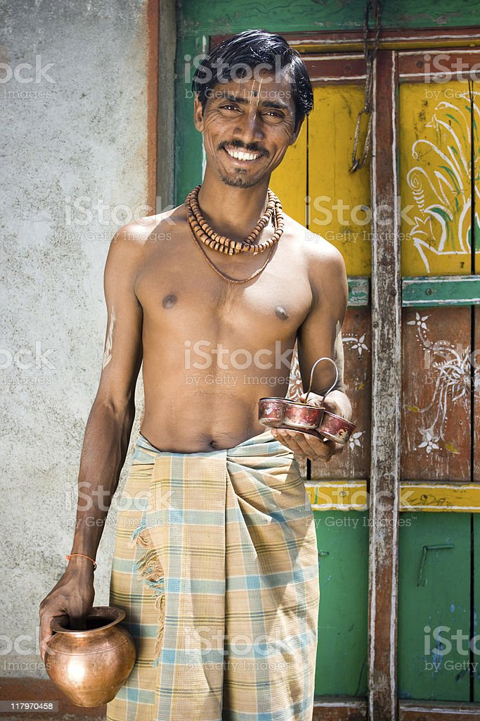 Cheerful Rural Indian Brahmin royalty-free stock photo