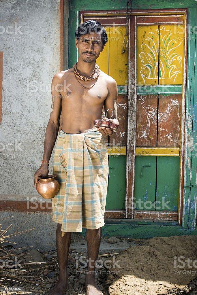Cheerful Rural Indian Brahmin royalty-free stock photo