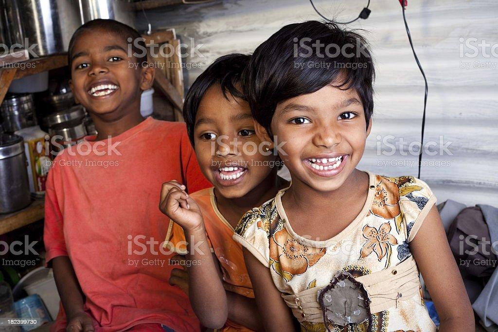 Cheerful Rural Indian Children Siblings royalty-free stock photo