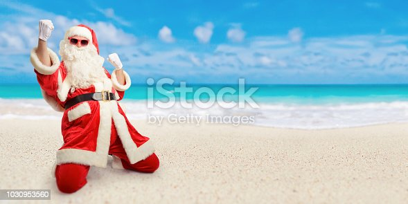 istock Cheerful Santa Claus is happy  about his perfect sunny vacation destination at the beach. 1030953560