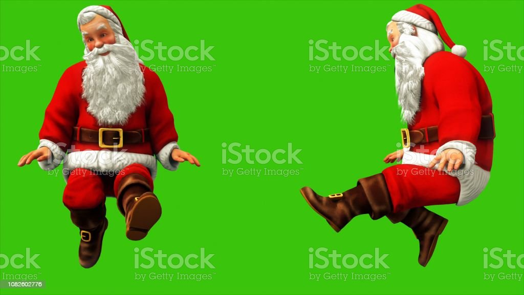 Cheerful Santa Claus Is Waving His Feet On The Green Screen