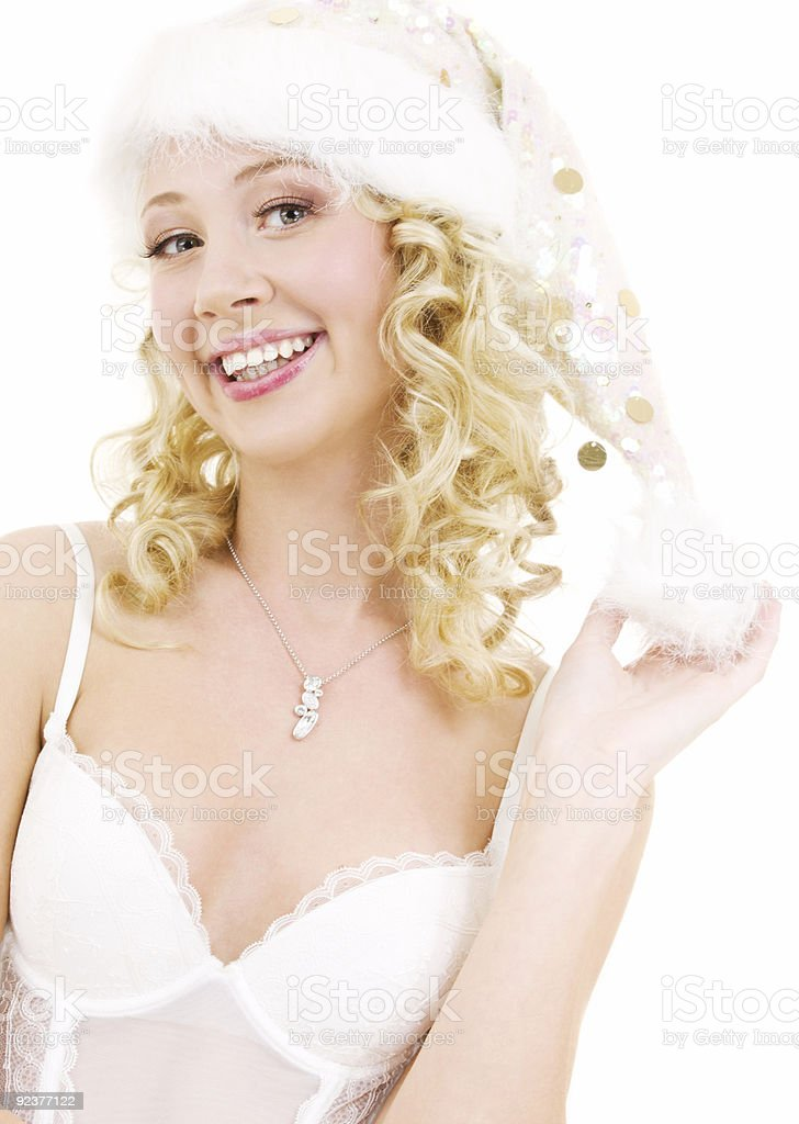 cheerful santa helper girl royalty-free stock photo
