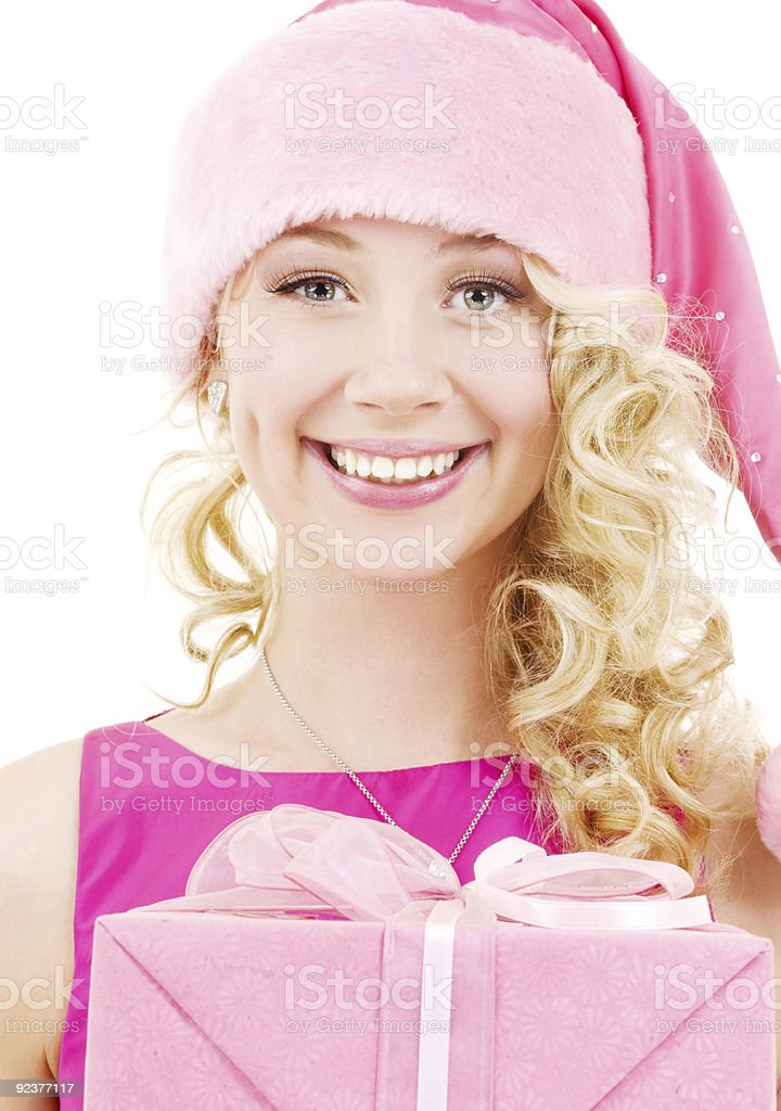 cheerful santa helper girl with gift box royalty-free stock photo