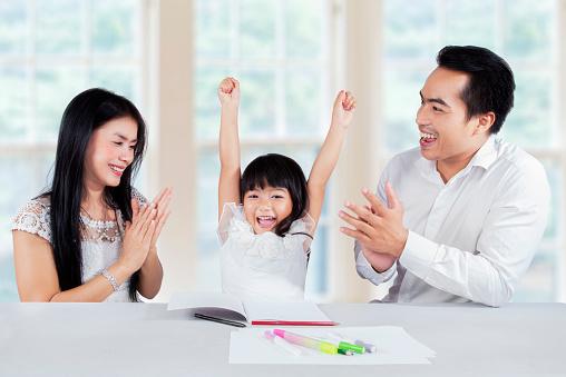 istock Cheerful schoolgirl get motivation 468288024