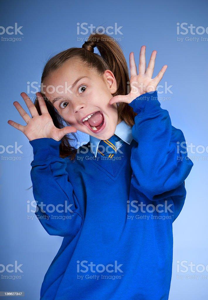 cheerful schoolgirl stock photo