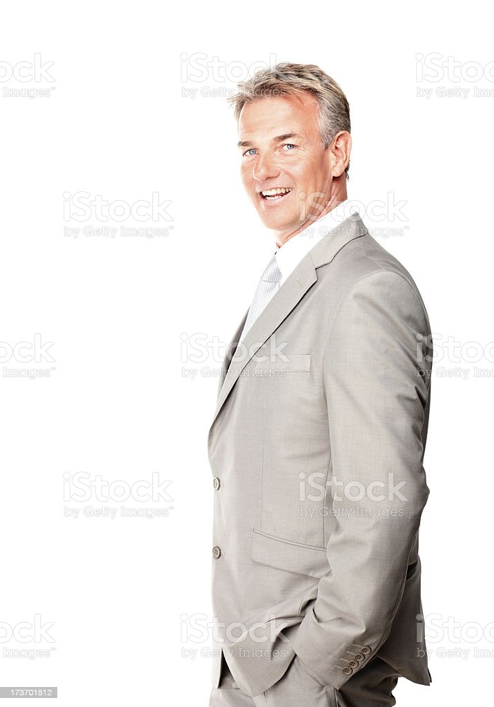Cheerful senior businessman against white background royalty-free stock photo