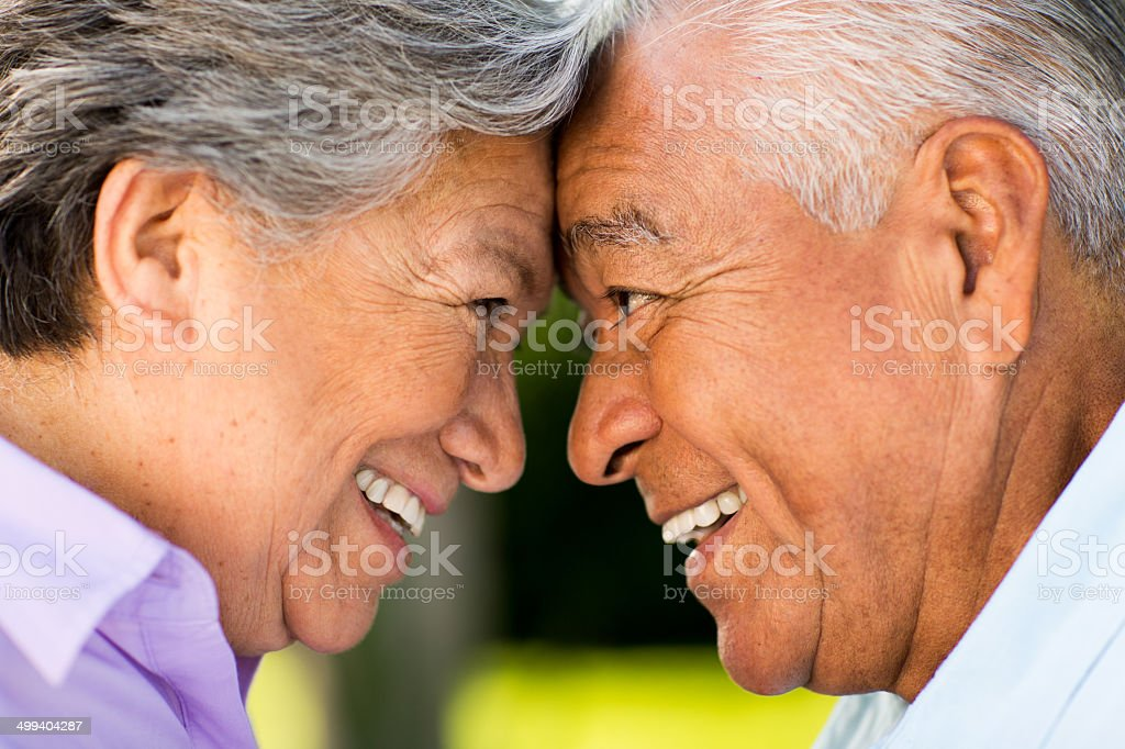 Cheerful senior couple face to face royalty-free stock photo