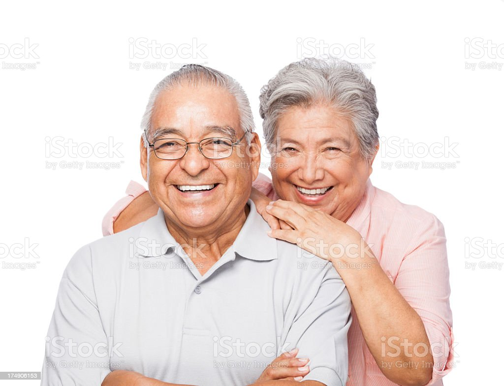 Cheerful senior couple in white background royalty-free stock photo