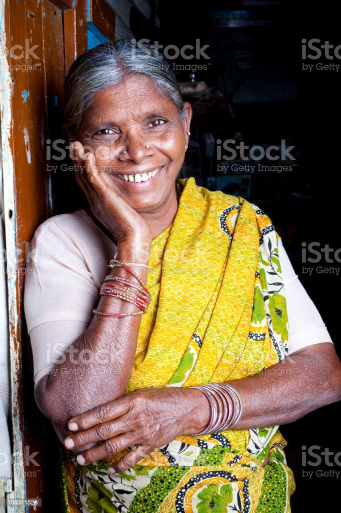 Cheerful Senior Indian Woman Vertical Portrait royalty-free stock photo