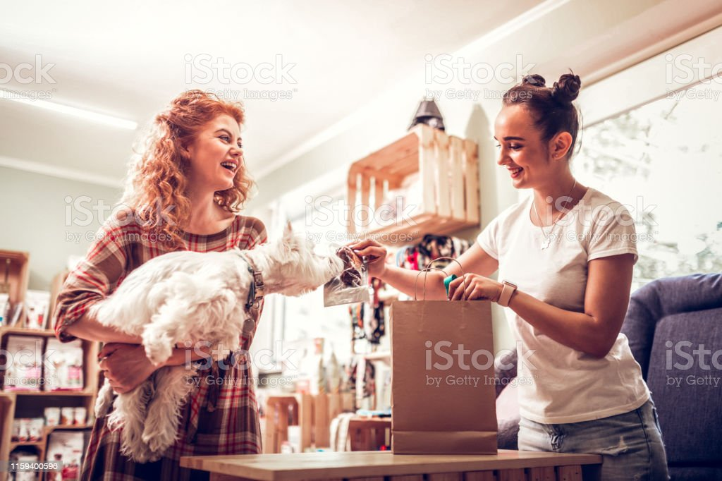 Cheerful shopping assistant giving some food for dog to smell - Zbiór zdjęć royalty-free (Artykuł dla zwierząt)