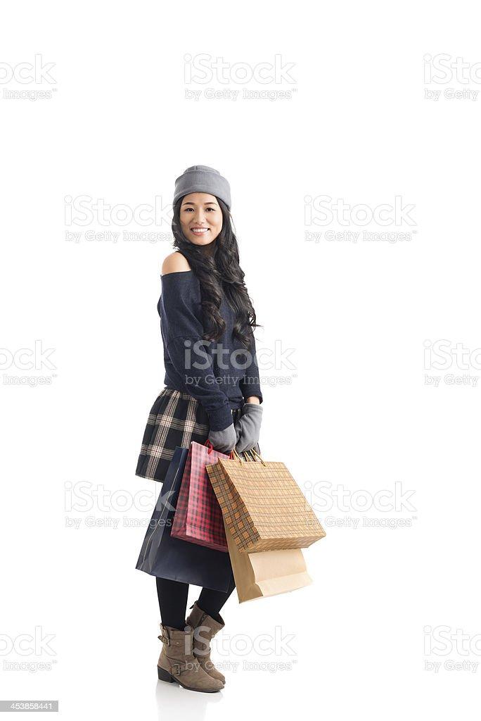 Cheerful shopping royalty-free stock photo