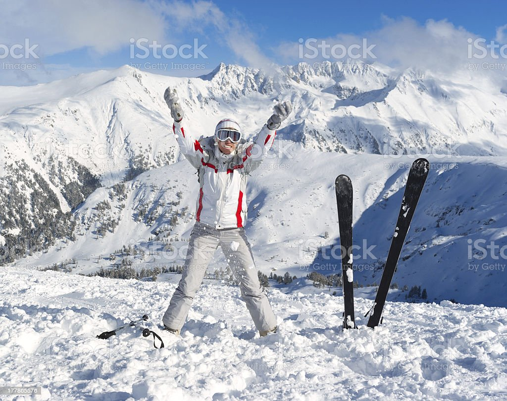 Cheerful skier on the top of Pirin mountains royalty-free stock photo