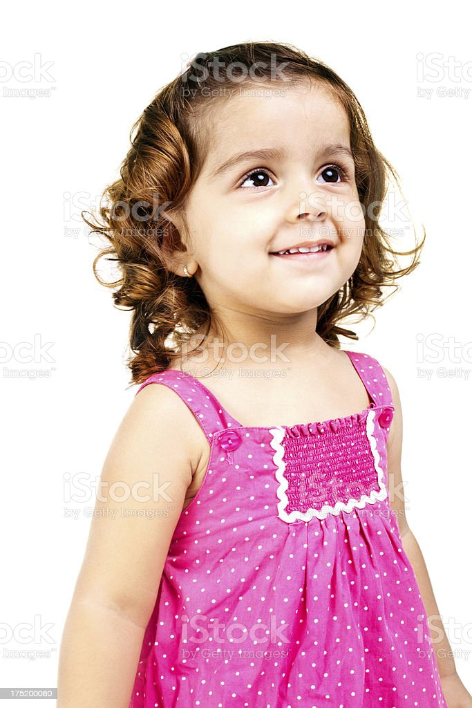 Cheerful Small Indian Girl Isolated on White royalty-free stock photo