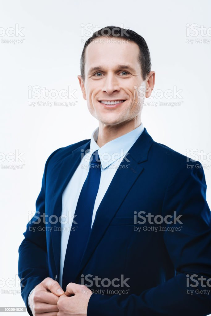 Cheerful smart man smiling - Foto stock royalty-free di Abbigliamento formale