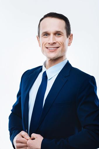 Cheerful Smart Man Smiling - Fotografie stock e altre immagini di Abbigliamento formale