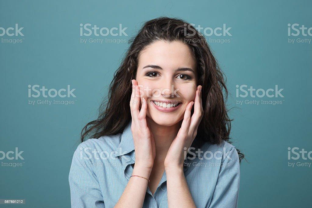 Cheerful smiling girl stock photo