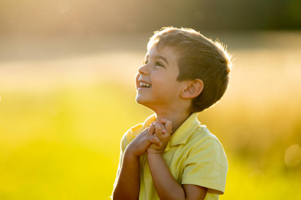cheerful smiling little boy outdoors in summer sunlight upper body 4 year old boy laughing full of joy looking excited and grateful with copyspace rural outdoor surrounding shallow depth of field  sunset summer vacation or weekend theme pleading stock pictures, royalty-free photos & images